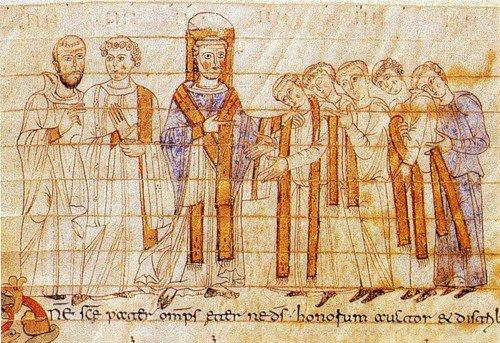 Рукоположение в священники. Миниатюра в Понтификале. Беневенто. Около 970 г. Медиапроект s-t-o-l.com