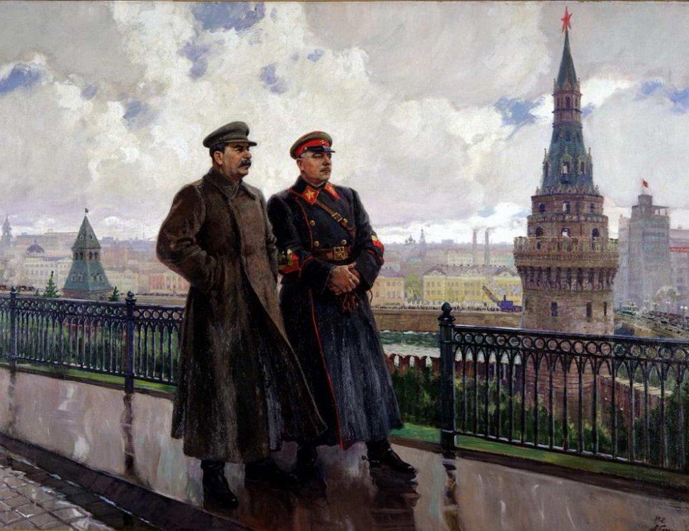 Герасимов. Сталин и Ворошилов в Кремле. 1938 год