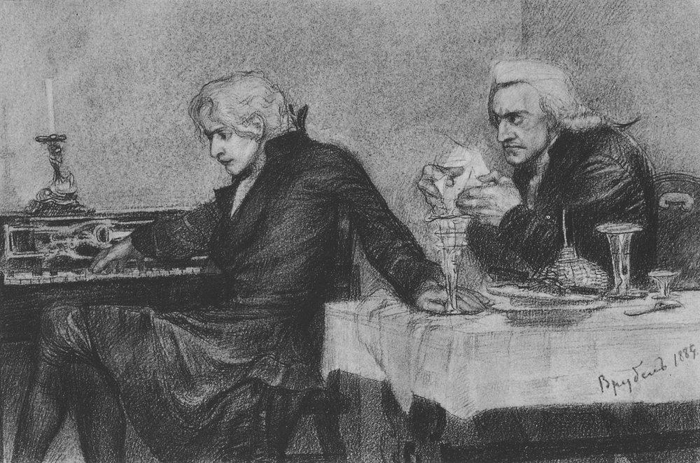 М. Врубель. Сальери всыпает яд в бокал Моцарта,1884 Медиапроект s-t-o-l.com