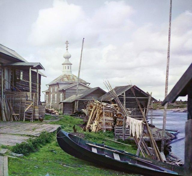 С. М. Прокудин-Горский. Рыбачий поселок 1916 Медиапроект s-t-o-l.com