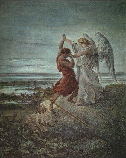 Гюстав Доре. Иаков, борющийся с Ангелом. 1855 год Медиапроект s-t-o-l.com