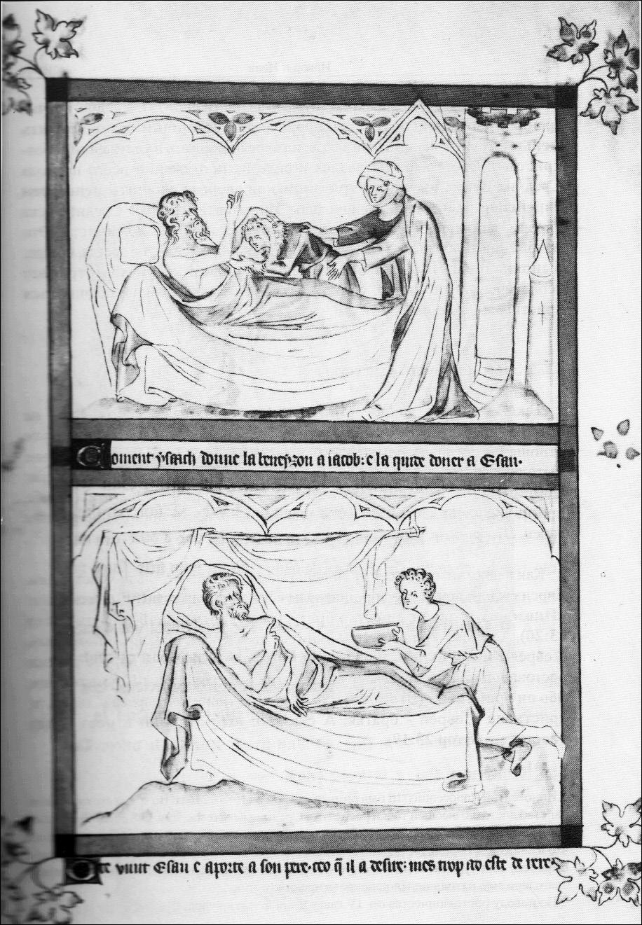 Иаков получает благословение, предназначенное Исаву. Рукопись начала XIV в Медиапроект s-t-o-l.com