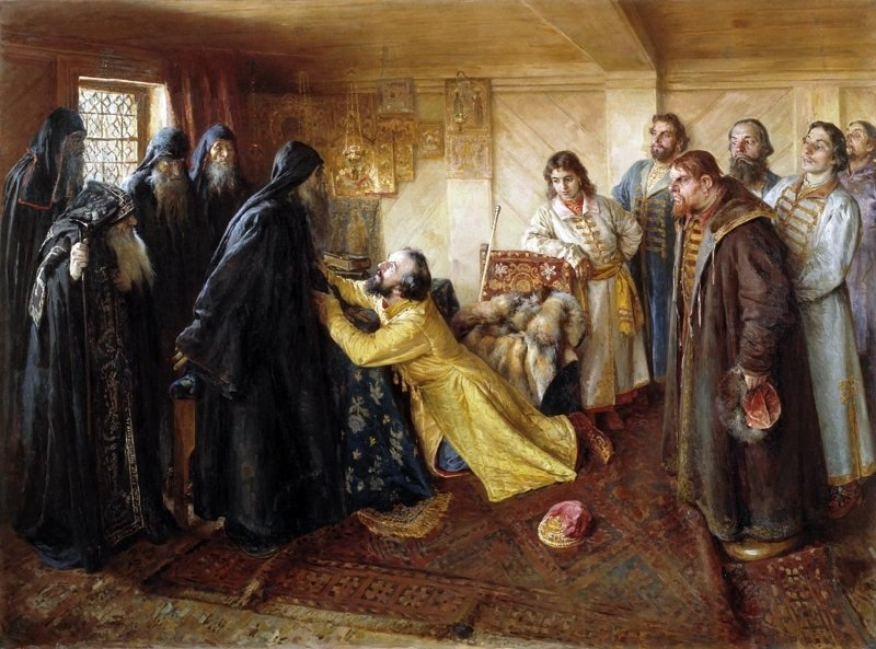 Царь Иван Грозный просит игумена Кирилла благословить его в монахи Медиапроект s-t-o-l.com