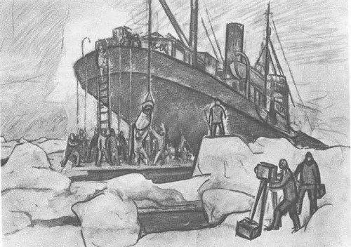 Ф. Решетников. Ремонт «Сибирякова» во льдах. Уголь. 1932 год Медиапроект s-t-o-l.com