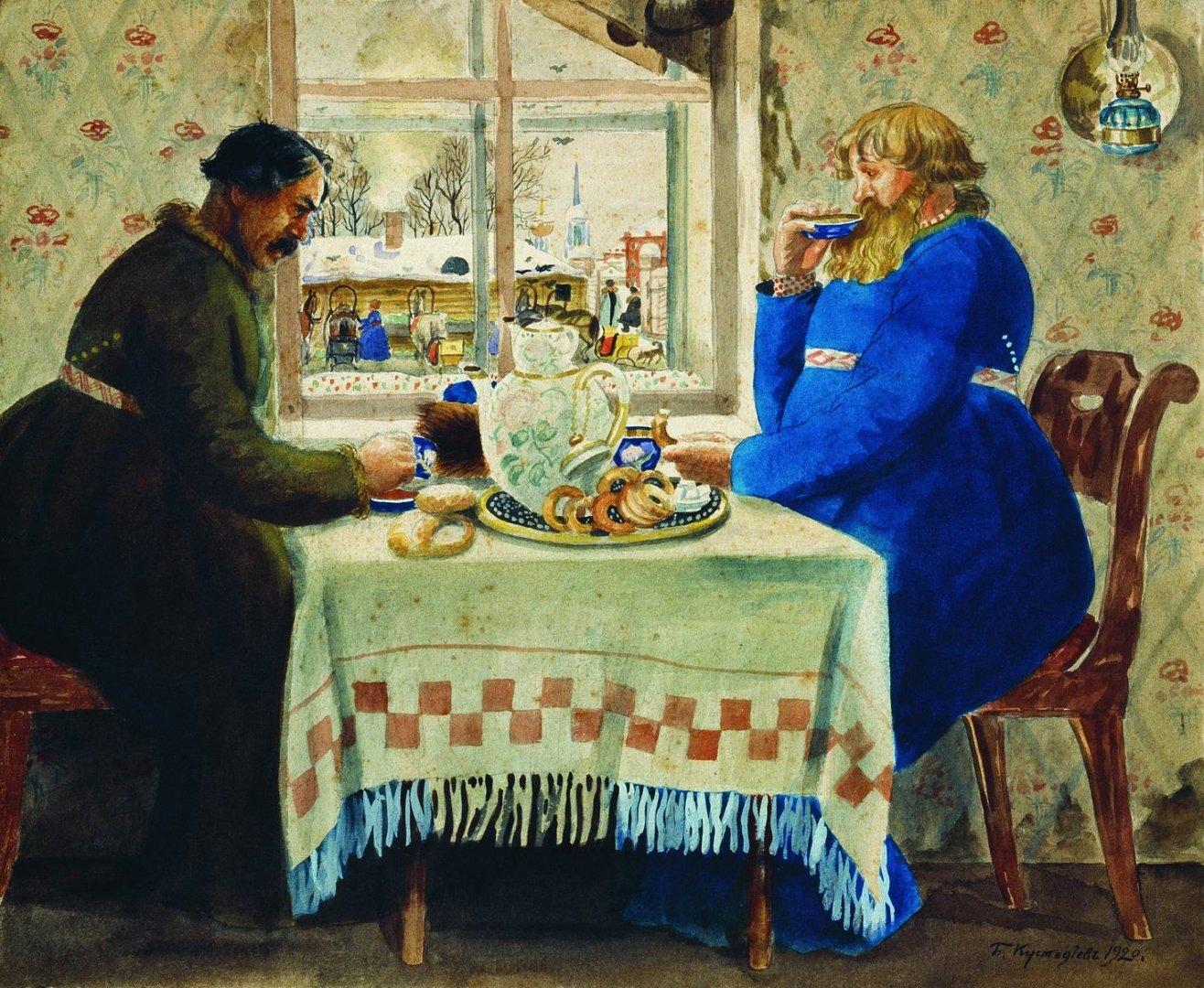 Чайный стол Кустодиева. Извозчик в трактире Медиапроект s-t-o-l.com