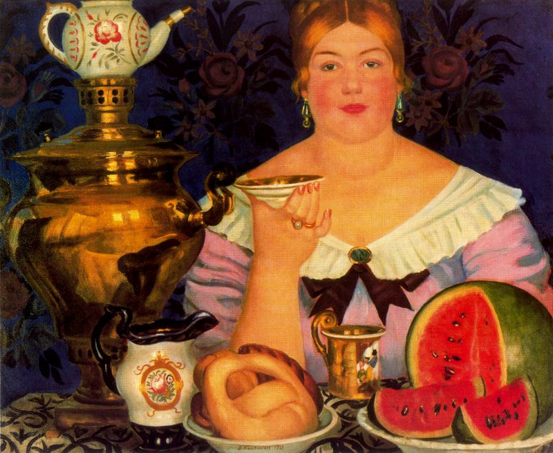 Чайный стол Кустодиева. Купчиха за чаем Медиапроект s-t-o-l.com