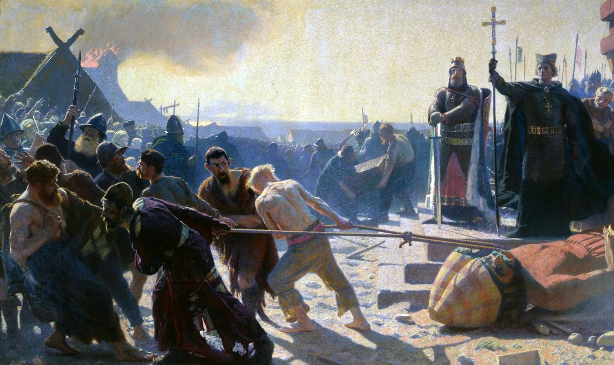 Иллюстрация: Туксен. Епископ Абесаллон повергает статую Свентовида в Арконе Медиапроект s-t-o-l.com