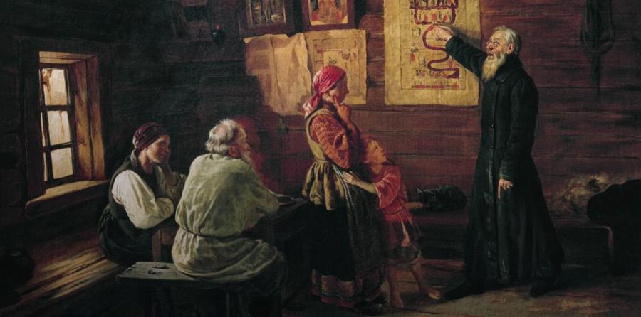 В. Пукирев. Дьячок объясняет крестьянам картину Страшного Суда Медиапроект s-t-o-l.com