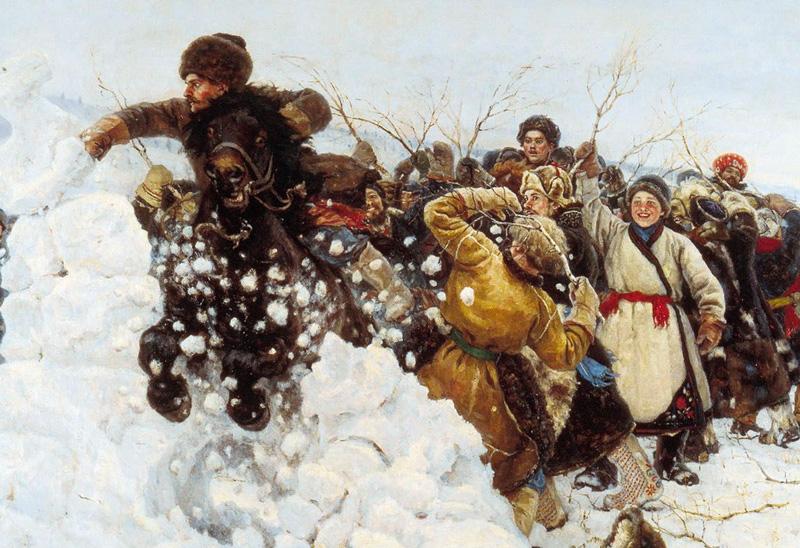 Суриков.Взятие снежного городка. Фрагмент Медиапроект s-t-o-l.com