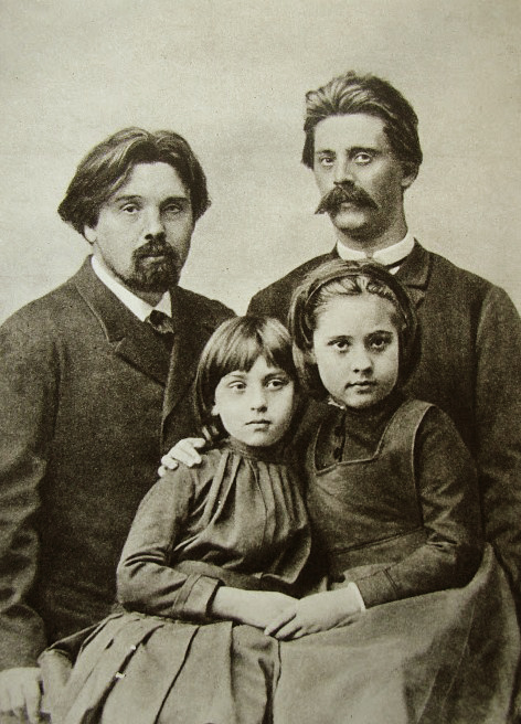 В. И. Суриков с дочерьми и братом Александром перед отъездом в Сибирь. Москва. 1889 Медиапроект s-t-o-l.com