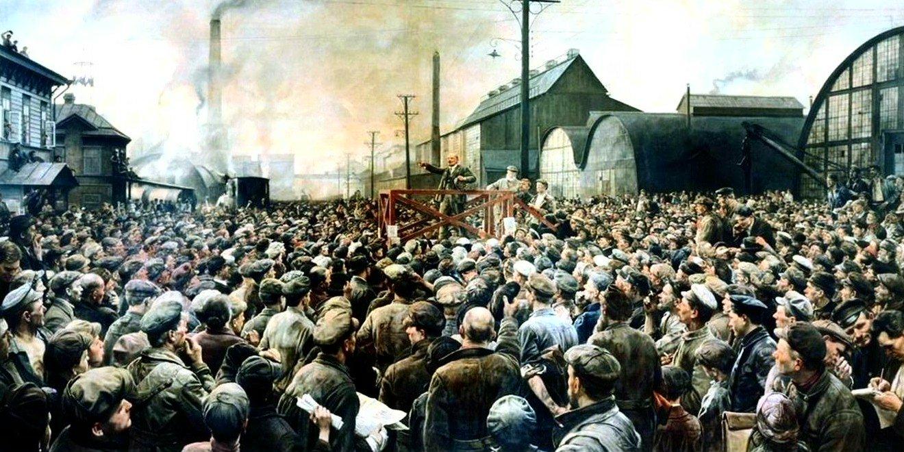 Картина Исаака Бродского «Выступление В. И. Ленина на митинге рабочих Путиловского завода в мае 1917 года».Фото: Wikimedia